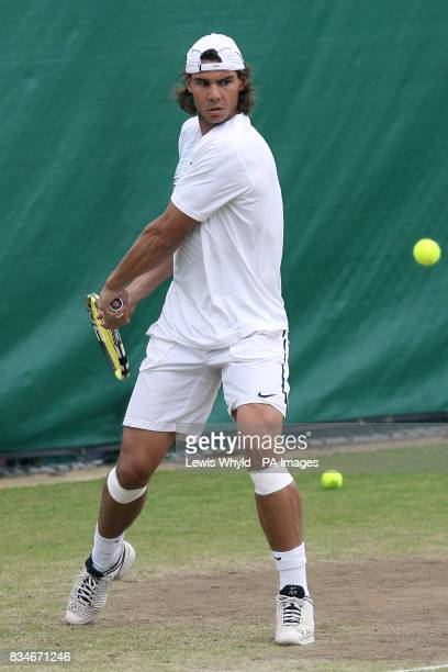 Spain's Rafael Nadal gets in a practice session during the Wimbledon Championships 2008 at the All England Tennis Club in Wimbledon