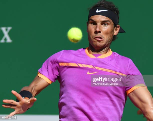 Spain's Rafael Nadal hits a return to German Alexander Zverev during their match at the MonteCarlo ATP Masters Series tennis tournament on April 20...