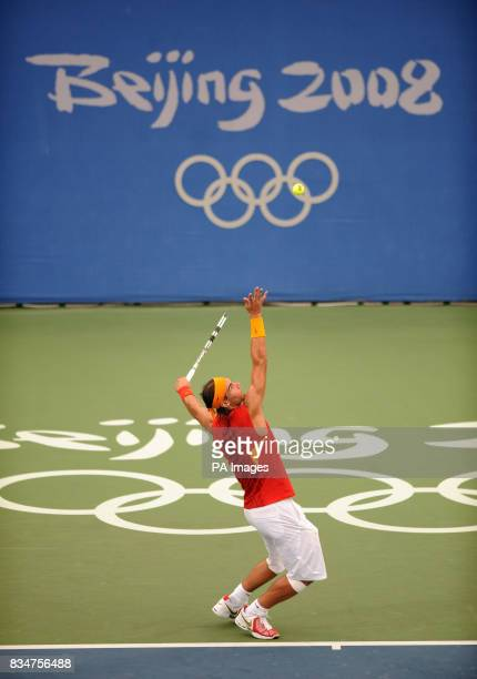 Spain's Rafael Nadal in action against Russia's Igor Andreev at Beijing's Olympic Green Tennis Centre during the 2008 Beijing Olympic Games in...