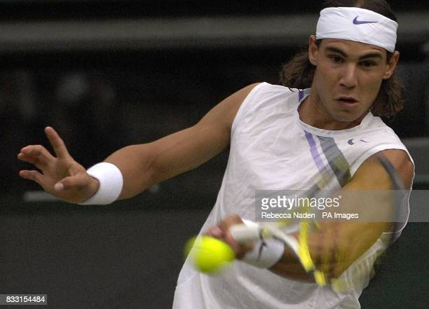 Spain's Rafael Nadal in action against Sweden's Robin Soderling during The All England Lawn Tennis Championship at Wimbledon