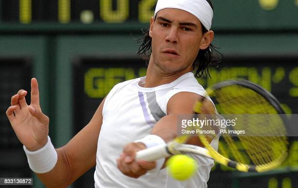 Spain's Rafael Nadal in action against Tomas Berdych of Czech Republic during The All England Lawn Tennis Championship at Wimbledon