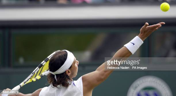 Spain's Rafael Nadal in action against USA's Mardy Fish during The All England Lawn Tennis Championship at Wimbledon