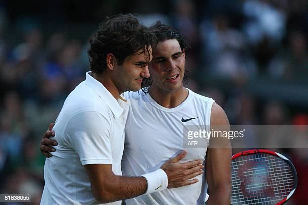 Spain's Rafael Nadal is congratulated by Switzerland's Roger Federer after winning their final tennis match of the 2008 Wimbledon championships...