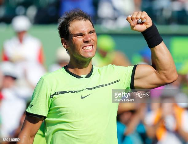 Spain's Rafael Nadal reacts after defeating France's Nicolas Mahut 64 76 in the fourth round of the Miami Open at Crandon Park Tennis Center in Key...