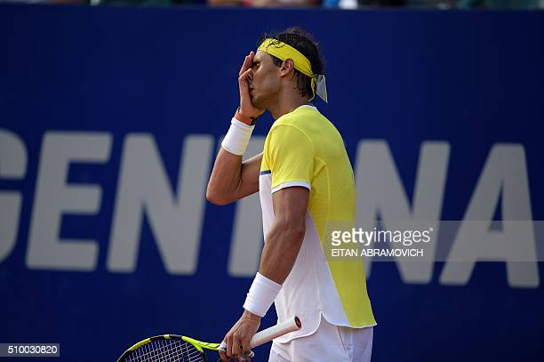 Spain's Rafael Nadal reacts after losing a point against Austria's Dominic Thiem during their semifinal tennis match at the ATP Argentina Open in...