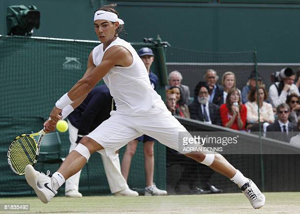 Spain's Rafael Nadal returns the ball during the final tennis match of the 2008 Wimbledon championships against Switzerland's Roger Federer at The...