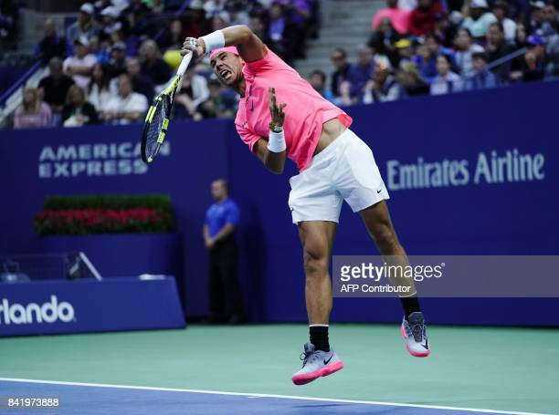 Spain's Rafael Nadal serves the ball to Argentina's Leonardo Mayer during their 2017 US Open Men's Singles match at the USTA Billie Jean King...