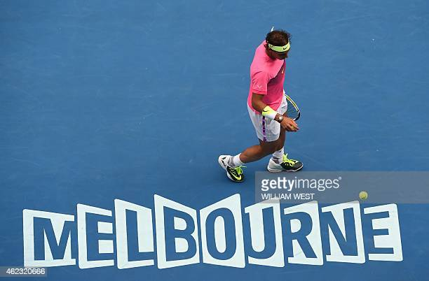 Spain's Rafael Nadal walks on court during his men's singles match against Czech Republic's Tomas Berdych on day nine of the 2015 Australian Open...