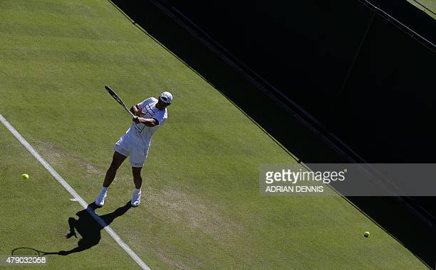 Spain's Rafael Nadal warms up ahead of his match on day two of the 2015 Wimbledon Championships at The All England Tennis Club in Wimbledon southwest...