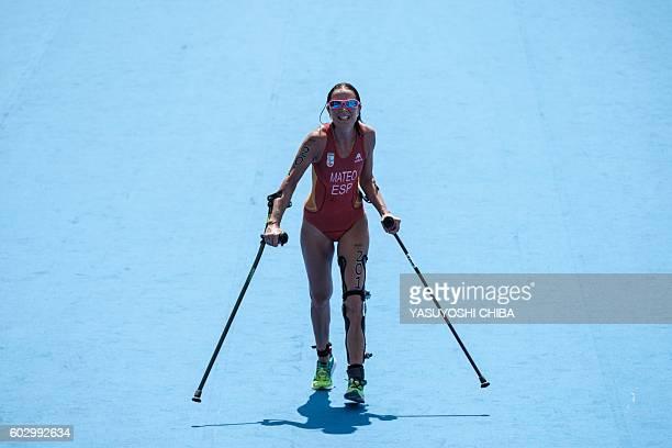 TOPSHOT Spain's Rakel Mateo Uriarte runs to a goal during women's triathlon of the Rio 2016 Paralympic Games at Copacabana beach in Rio de Janeiro on...