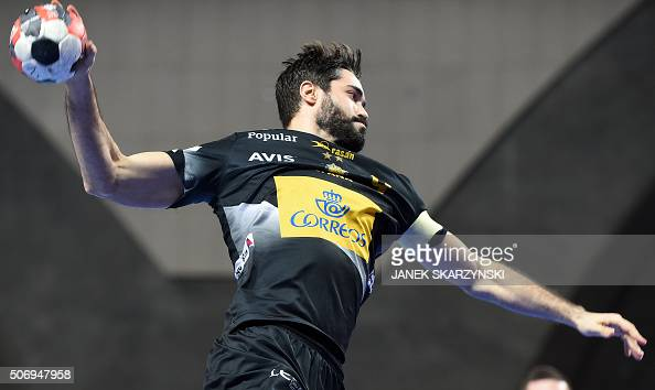 Spain's Raul Entrerrios vies during the Men's 2016 EHF European Handball Championships between Spain and Hungary in Centennial Hall in Wroclaw on...