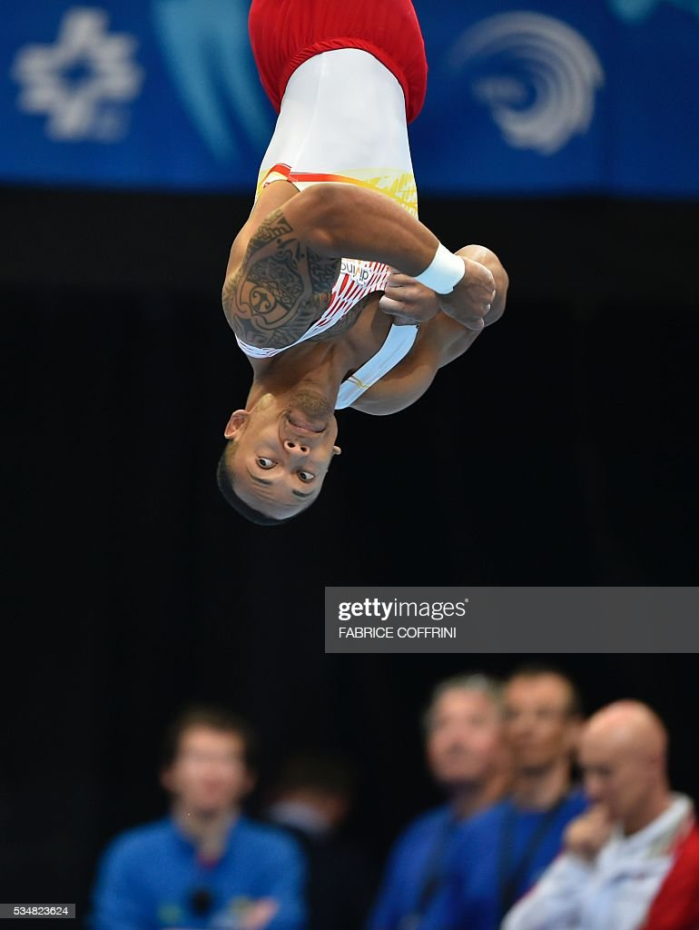Spain's Rayderley Miguel Zapata performs during the Mens Floor competition of the European Artistic Gymnastics Championships 2016 in Bern, Switzerland on May 28, 2016. / AFP / FABRICE