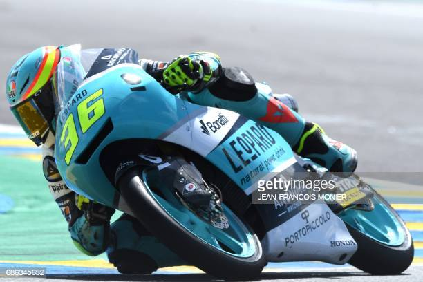 Spain's rider Joan Mir competes on his Leopard racing N°36 during the Moto3 race of the French Motorcycle Grand Prix on May 21 2017 in Le Mans...