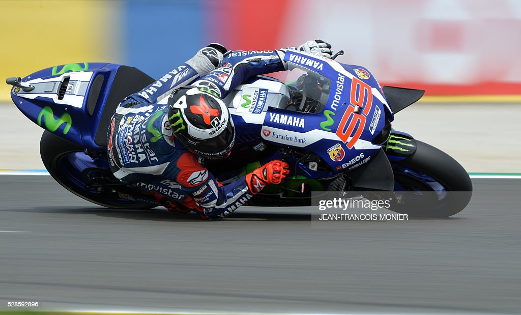 Spain's rider Jorge Lorenzo competes on his Movistar Yamaha MOTOGP N��99 during a motoGP free practice session, ahead of the French motorcycling Grand Prix, on May 6, 2016 in Le Mans. / AFP / JEAN