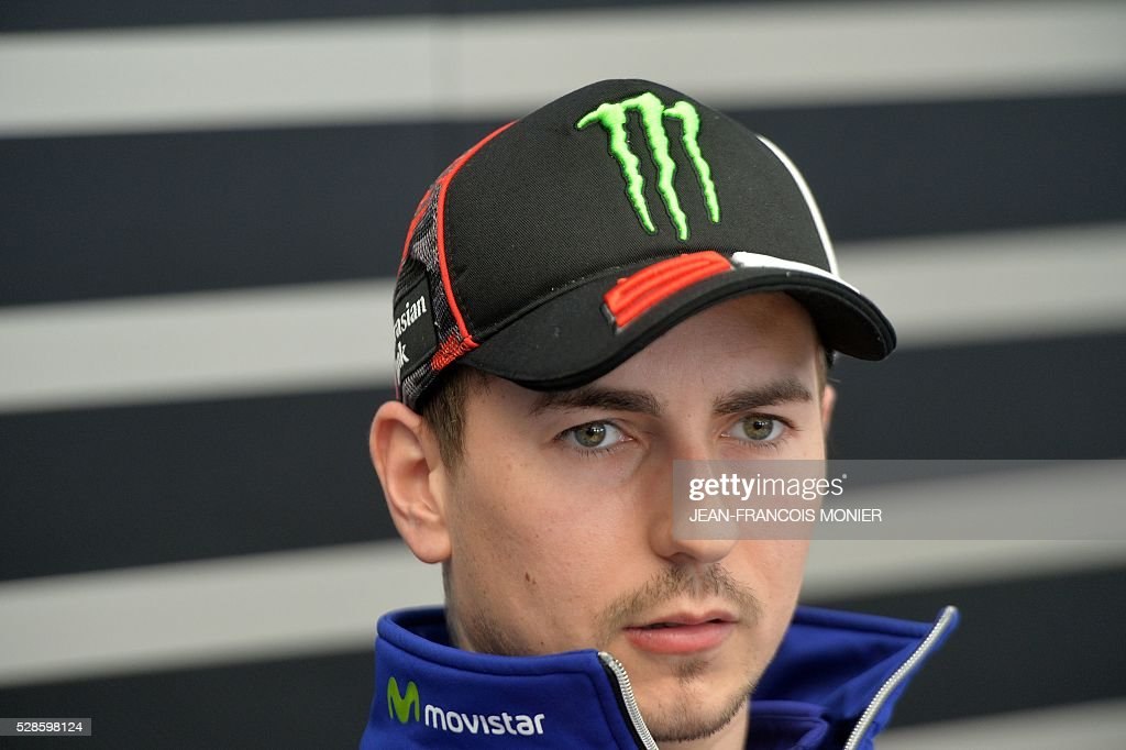 Spain's rider Jorge Lorenzo (Movistar Yamaha MOTOGP N��99) gives a press conference after a motoGP free practice session, ahead of the French motorcycling Grand Prix, on May 6, 2016 in Le Mans. / AFP / JEAN