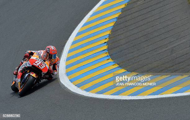 Spain's rider Marc Marquez competes on his Repsol Honda N��93 during the qualifying cession of the MotoGP ahead of the French motorcycling Grand Prix...