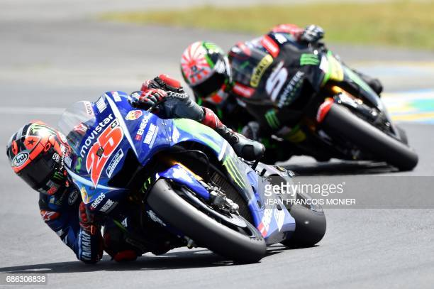 TOPSHOT Spain's rider Maverick Vinales competes on his Movistar Yamaha MOTOGP N°25 ahead of France's rider Johann Zarco on his Monster Yamaha TECH 3...