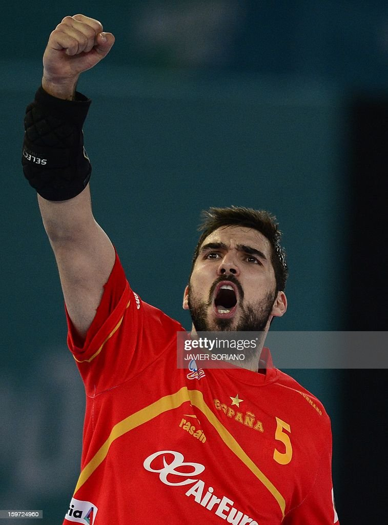 Spain's right back Jorge Maqueda celebrates after scoring a goal during the 23rd Men's Handball World Championships preliminary round Group D match Spain vs Croatia at the Caja Magica in Madrid on January 19, 2013.