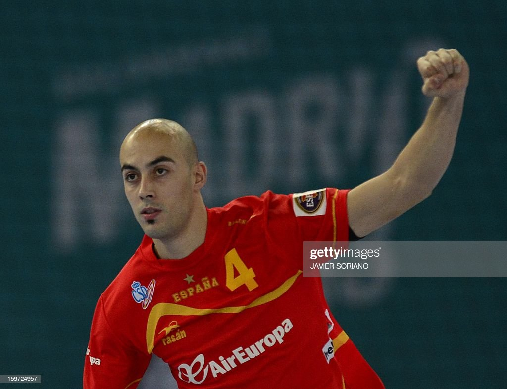 Spain's right wing Albert Rocas celebrates after scoring a goal during the 23rd Men's Handball World Championships preliminary round Group D match Spain vs Croatia at the Caja Magica in Madrid on January 19, 2013.