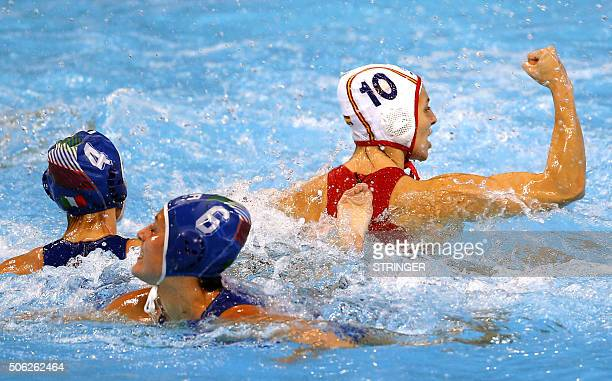 Spain's Roser Tarrago celebrates a goal during the women's water polo bronze medal match between Spain and Italy at the European Water polo...