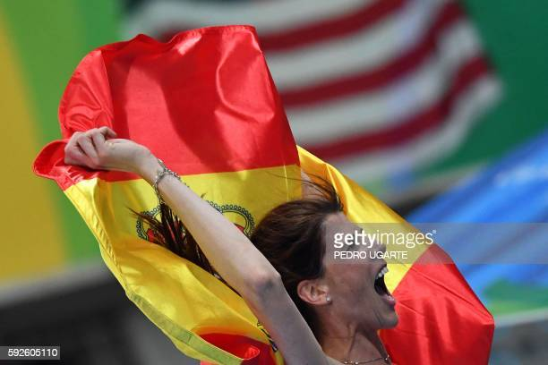 TOPSHOT Spain's Ruth Beitia celebrates after she won the Women's High Jump Final during the athletics event at the Rio 2016 Olympic Games at the...
