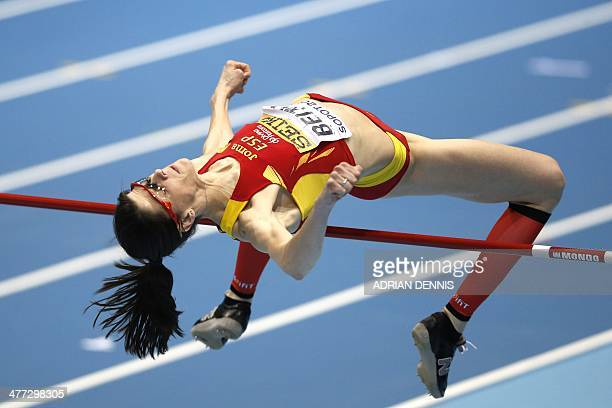 Spain's Ruth Beitia competes in the Women High Jump Final event at the IAAF World Indoor Athletics Championships in the Ergo Arena in the Polish...