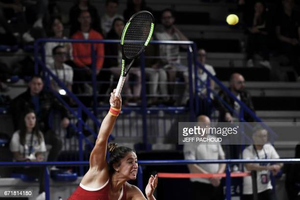 Spain's Sara Sorribes Tormo competes against French player Kristina Mladenovic during the Fed Cup tennis match between France and Spain in Roanne on...