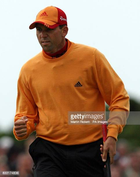 Spain's Sergio Garcia celebrates a birdie on the 8th hole during the third day of The 136th Open Championships at Carnoustie Scotland