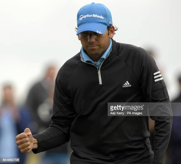 Spain's Sergio Garcia celebrates birdie on the 15th green during the final round of the European Open at The London Golf Club Ash Kent