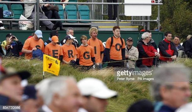 Spain's Sergio Garcia fans on the 1st during Round One of the Open Championship at the Royal Birkdale Golf Club Southport