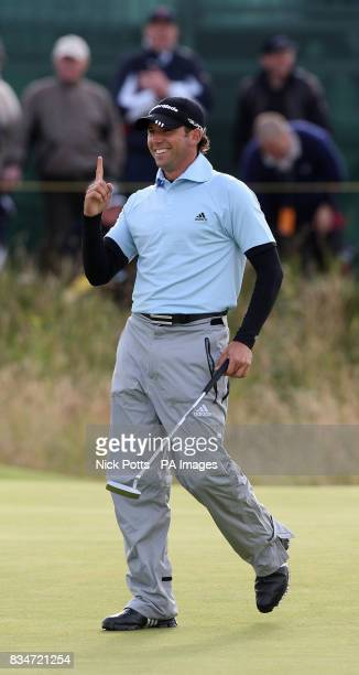 Spain's Sergio Garcia gestures after a birdie on the 15th hole during Round One of the Open Championship at the Royal Birkdale Golf Club Southport