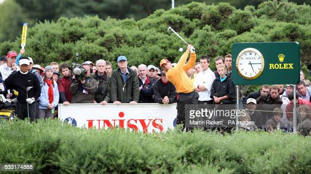 Spain's Sergio Garcia in action during the third day of The 136th Open Championships at Carnoustie Scotland