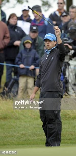 Spain's Sergio Garcia laments his luck as his eagle chip misses the hole on the 15th green during the final round of the European Open at The London...