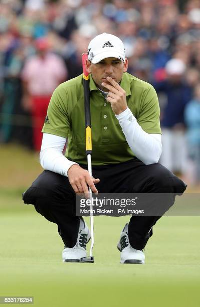 Spain's Sergio Garcia lines a putt up during the Final day of The 136th Open Championships at Carnoustie Scotland