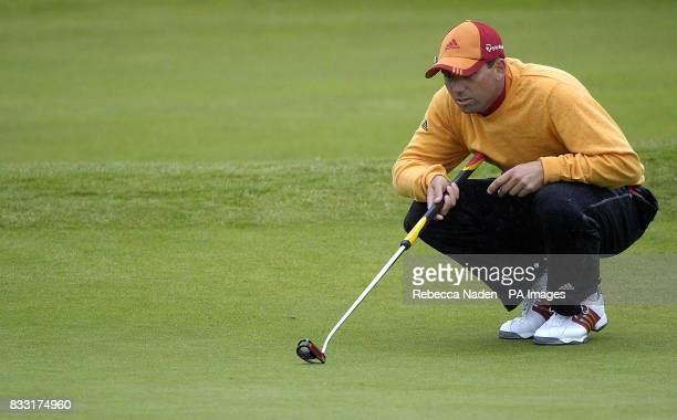 Spain's Sergio Garcia lines up a putt on the 18th hole during the third day of The 136th Open Championships at Carnoustie Scotland