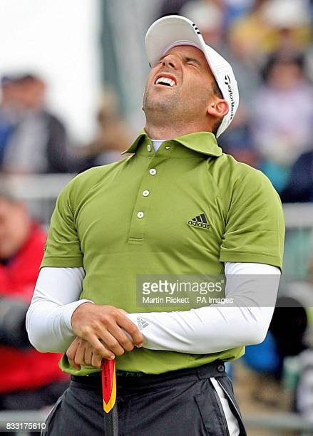 Spain's Sergio Garcia looks dejected after missing a putt to win on the 18th green during the Final day of The 136th Open Championships at Carnoustie...