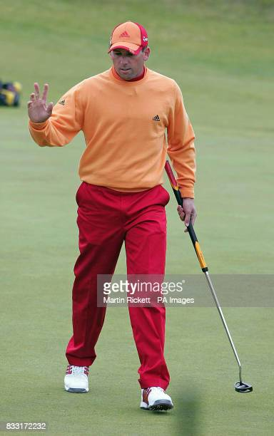 Spain's Sergio Garcia makes a birdie on the 1st green during the third day of The 136th Open Championships at Carnoustie Scotland