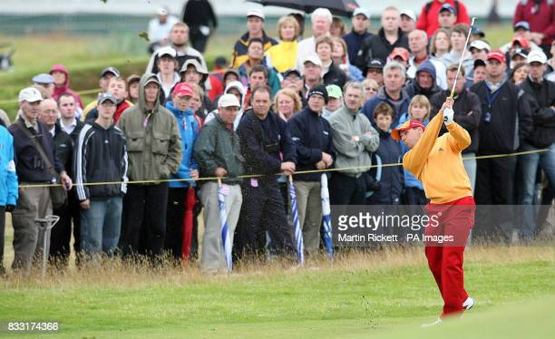 Spain's Sergio Garcia on the 1st fairway during the third day of The 136th Open Championships at Carnoustie Scotland