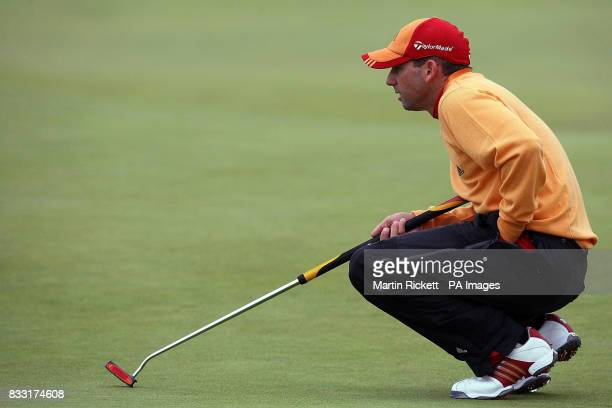 Spain's Sergio Garcia on the 2nd green during the third day of The 136th Open Championships at Carnoustie Scotland