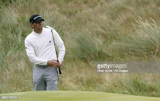 Spain's Sergio Garcia on the eighth hole during a practice round at the Royal Birkdale Golf Club Southport