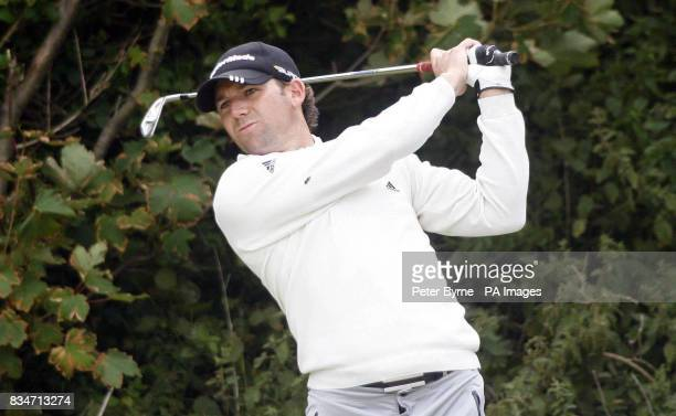 Spain's Sergio Garcia on the fifth hole during a practice round at the Royal Birkdale Golf Club Southport
