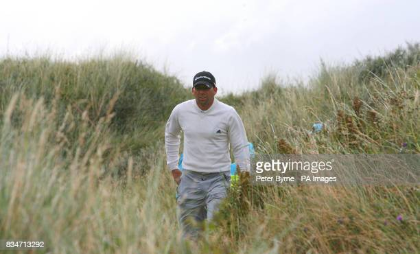 Spain's Sergio Garcia on the third hole during a practice round at the Royal Birkdale Golf Club Southport