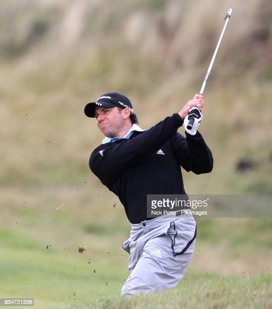 Spain's Sergio Garcia plays a bunker shot on the sixth hole during Round One of the Open Championship at the Royal Birkdale Golf Club Southport