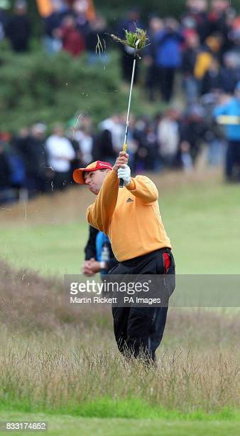 Spain's Sergio Garcia plays from rough on the 4th fairway during the third day of The 136th Open Championships at Carnoustie Scotland
