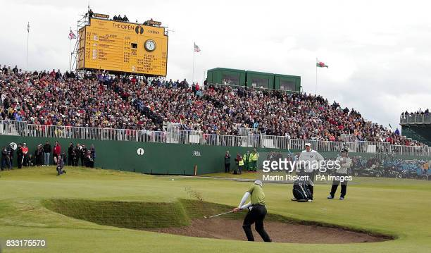 Spain's Sergio Garcia plays from the bunker during the Final day of The 136th Open Championships at Carnoustie Scotland