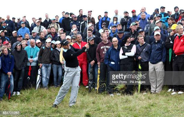 Spain's Sergio Garcia plays from the rough on the 11th during Round One of the Open Championship at the Royal Birkdale Golf Club Southport