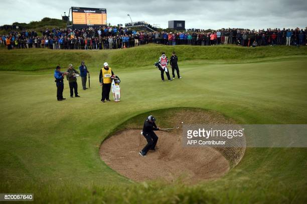 Spain's Sergio Garcia plays out of a bunker on the 10th hole during his second round on day two of the Open Golf Championship at Royal Birkdale golf...