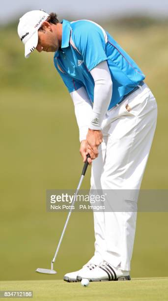 Spain's Sergio Garcia putts during a practice round at the Royal Birkdale Golf Club Southport