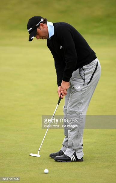Spain's Sergio Garcia putts on the 8th green during Round One of the Open Championship at the Royal Birkdale Golf Club Southport
