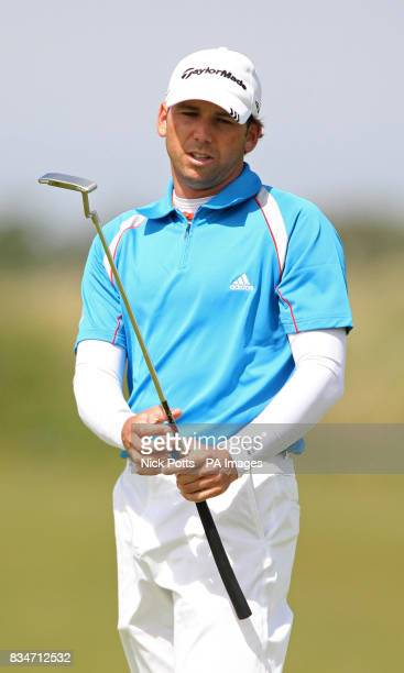 Spain's Sergio Garcia reacts after a shot during a practice round at the Royal Birkdale Golf Club Southport
